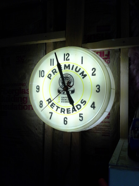 Finally. A garage pic. This is an old shop clock, circa 1962, that I bought and cleaned up for a garage clock.