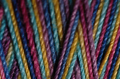 My first test subject was a spool of hand dyed variegated cotton thread. It's a 35wt. 3-ply thread called Valdani Jewels. This is the full picture.