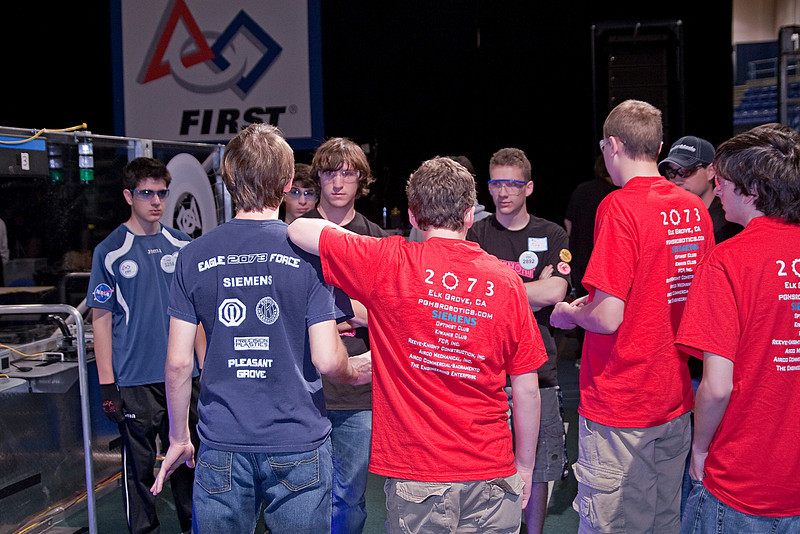 Prior to the first match of the Regional, the drive teams scheme their winning approach.