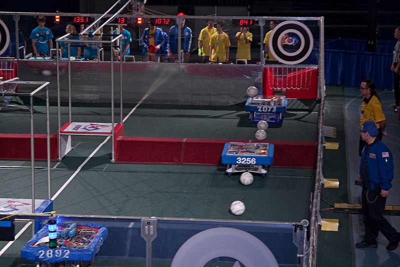 Two second into the very first match and 2073 already has a ball headed towards the goal.