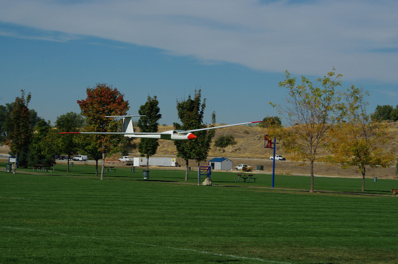 Downwind landing - barely got it down before the field edge!!  Maiden flight photos by Norm Anderson