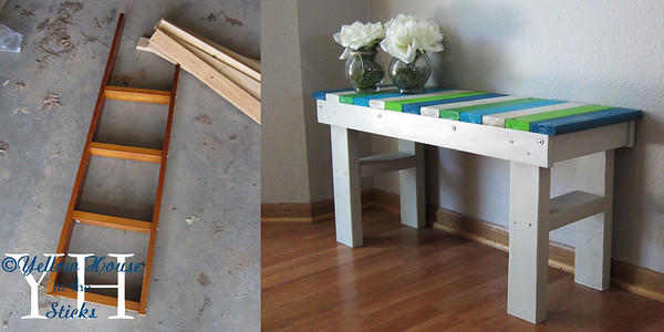 A bench I made from a ladder and slats from an old bunk bed set and a 2x4.