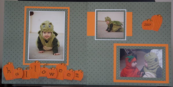 Patterned paper, stamped pumpkins and title.