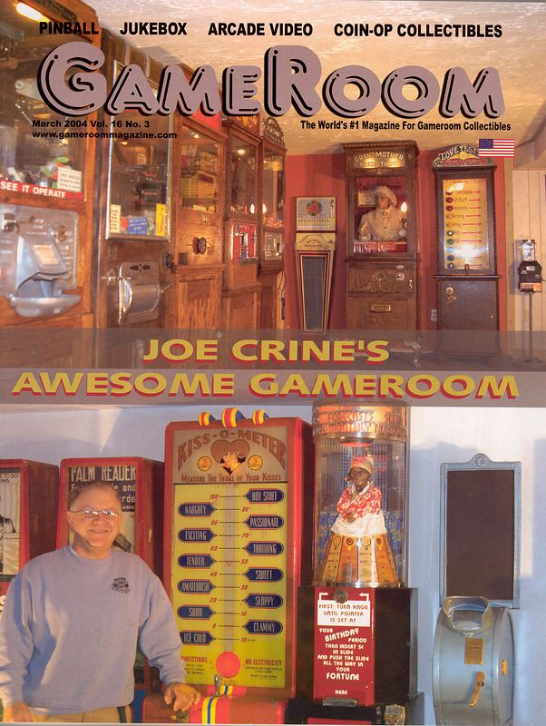 My story about my pinball collecting and where it all started, SeaView Playland in Dennisport, Massachusetts.  Cover of the issue my article appeared in.  GameRoom contents reprinted with permission of its publisher.