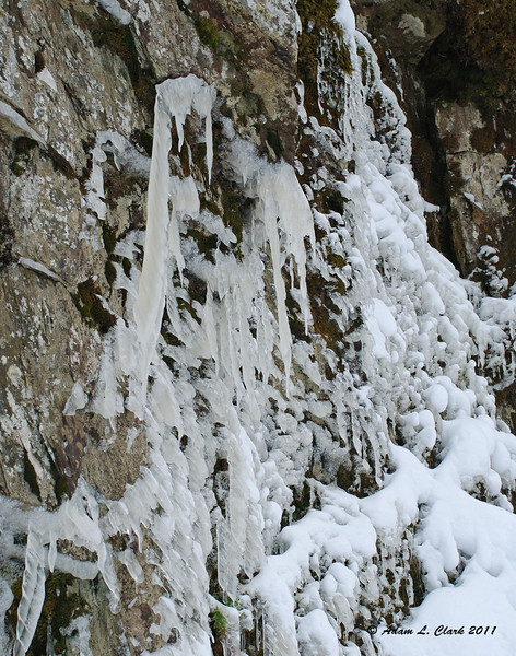 """Ice opposite the falls  To see what Garfield Falls looks like in the summer, go <a href=""""http://sdways01.smugmug.com/Travel/Maine-Camping-7-10/Garfield-Falls/"""">here</a>"""
