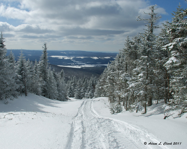 Looking down the border swath with Chartierville Canada in the distance
