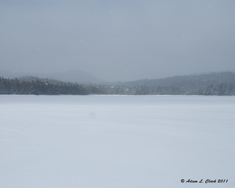 The Southern end of Third Connecticut Lake while ice fishing