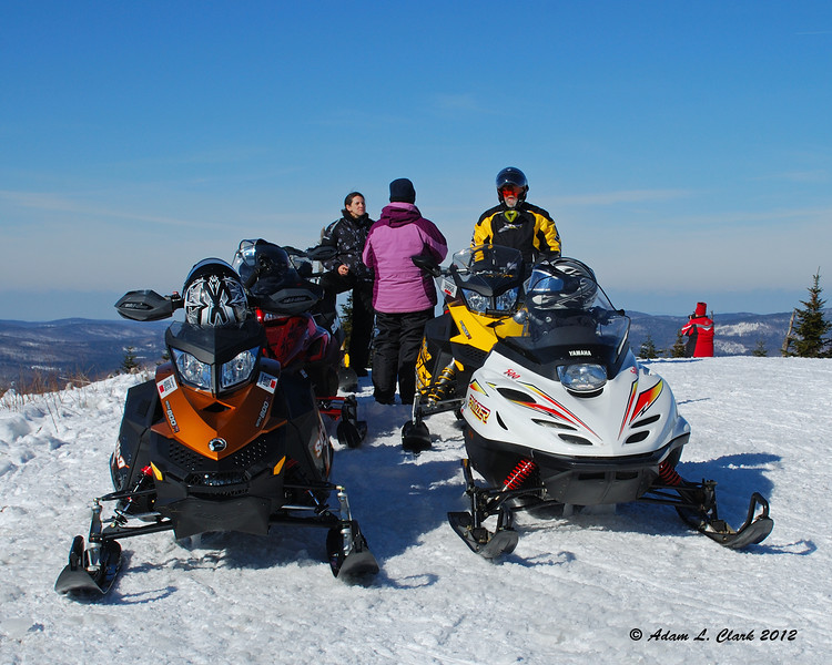 Our sleds parked at the top of Diamond Ridge