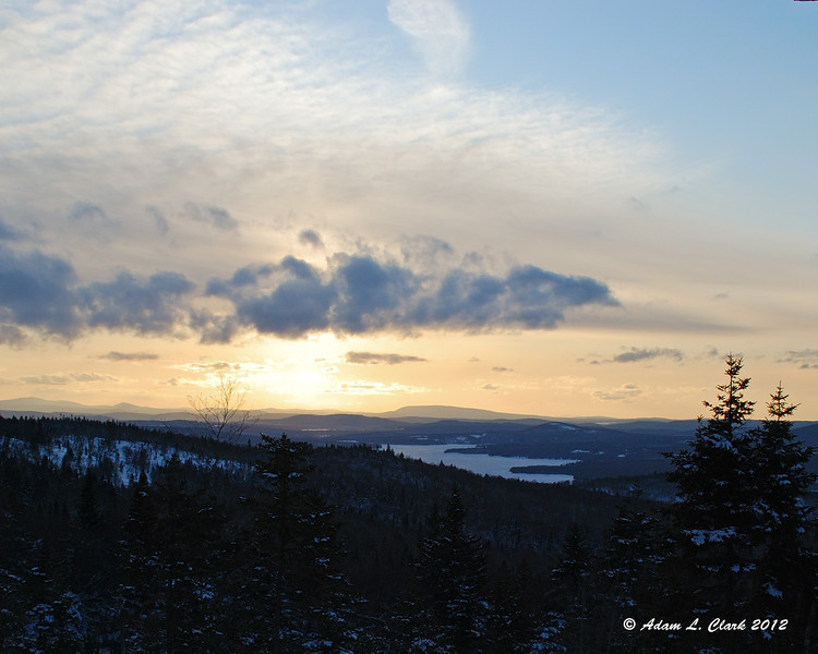The sun getting close to setting over the Second Connecticut Lake