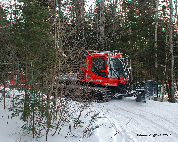 The groomer coming down the trail just before the tunnel under Route 26 near the Balsams
