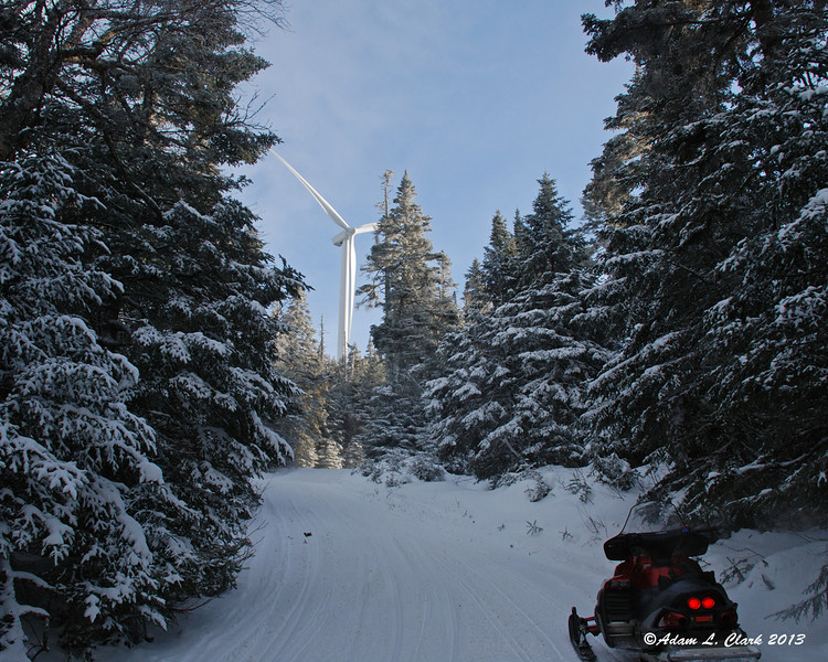 Coming up Dixville Peak with one of the windmills in site