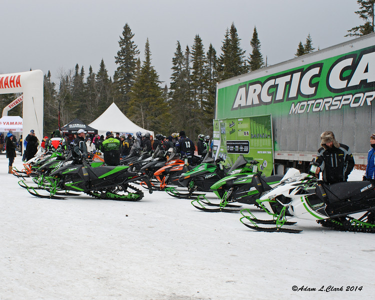 Some or Arctic Cat's sleds on display