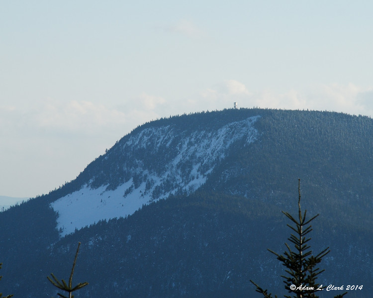 A closer look at the summit of Mt. Magalloway and the fire tower on it