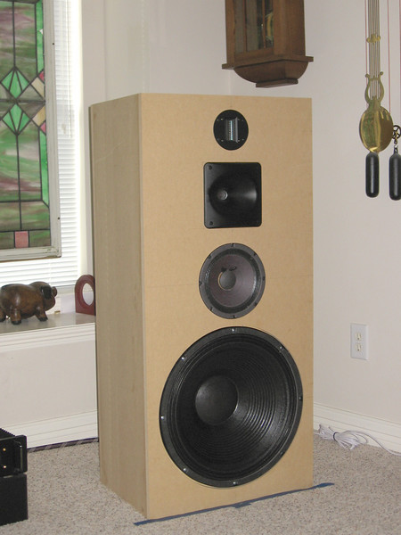 """The """"Velvet Hammer"""" four way speaker using an 18"""" Hammer 18CLF woofer, Eminence Beta 8 midrange, Eminence PSD 2002 compression driver mounted to a Parts Express waveguide, and a Fountek ribbon supertweeter. Crossover points are 350hz, 2.2khz, and 14khz."""
