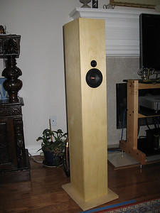 """The Jim Griffin design single driver (with supertweeter) MLTL bipole speaker using CSS 4.5"""" drivers."""