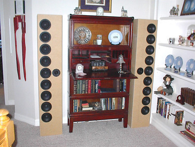 """The FredArray II Line Arrays, a rear-ported design using Silver Flute 5.5"""" woofers and a Vifa DX25 tweeter."""