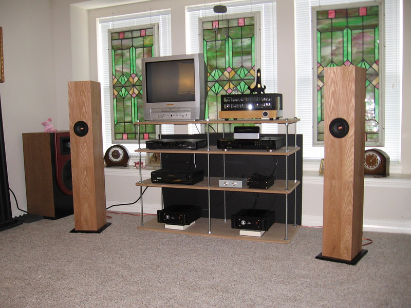 Jim Griffin design bipole speakers in the upstairs system, driven by Squeezebox wireless server, Lite Audio DAC-AH, DIY passive preamp, Monarchy Audio ST-70 Pro class A zero feedback amplifiers bridged for use as monoblocks (140 watts into 4 ohms).