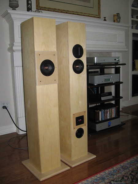 """Latest version of the Jim Griffin design full range driver MLTL bipole, with a Hi Vi supertweeter projecting rearward. The 4.5"""" CSS full range drivers are wired in parallel without any crossover; the tweeter crossover is a single 1uF Audiocap Theta film capacitor."""