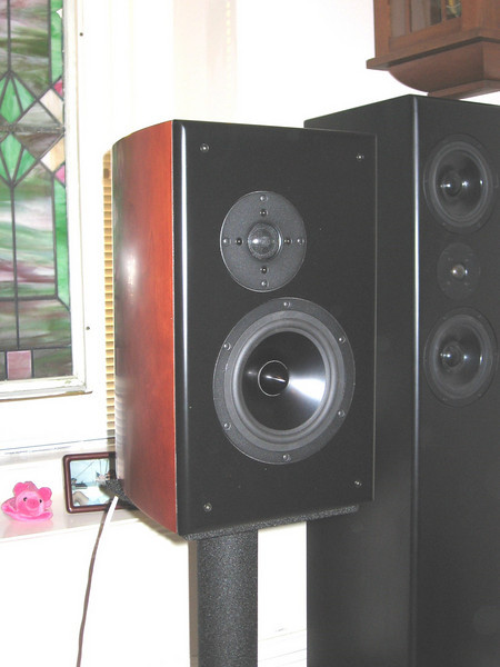The RS180 Modula MT, a Jon Marsh design, using Dayton Reference drivers. This one using the Dayton 0.75 cu ft curved side enclosures.