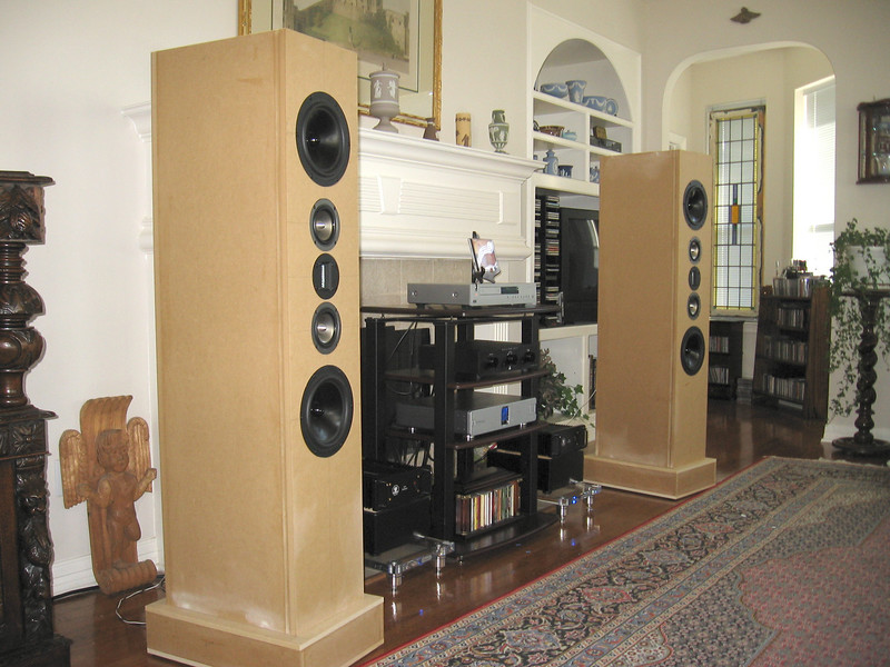 """The """"Statements"""", a five foot tall three-way W-M-T-M-W design by Jim Holtz using 8"""" Dayton reference series aluminum cone woofers, 4"""" Tang Band  titanium cone midranges, and a Fountek ribbon tweeter. Crossovers are at 350hz and 3.7khz."""
