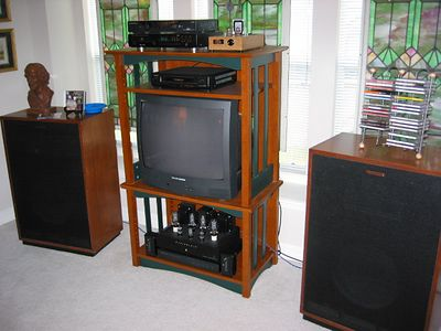 Klipsch Cornwalls with upgraded crossovers, vintage circa 1982. These speakers are currently being refinished, and additional mods are being made to the crossovers.