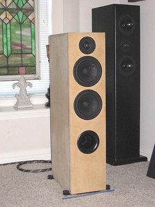 The Selah Audio Texas Revelator Tower, a 2.5-way ported design featuring Scan Speak Revelator drivers. Just completed and playing for the first time in their nude mdf enclosures.