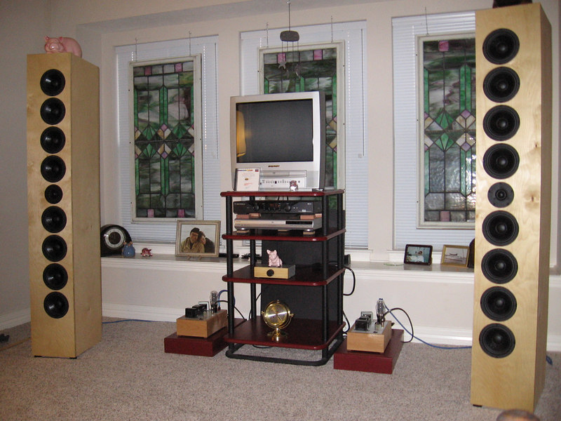 """The ART Arrays driven by 2A3 SET Bottlehead Paramour monoblocks, a Goldpoint stepped attenuator passive """"preamp"""", and a modded Toshiba 3950 DVD player. The parts needed to build a pair are avaiable from Parts Express for $275, excluding the enclosures."""