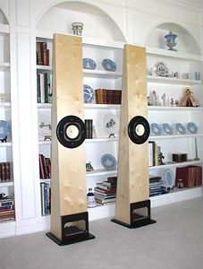 """Voigt pipes using Fostex FE166E 6"""" drivers. The enclosure is made of 3/4"""" birch veneer plywood with painted mdf accents."""