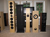 Speakers to be compared in the 11/14 Houston Audio Society meeting include (L to R) 1) The Art Array line arrays, 2) Maggie MMG dipoles on elevator heels, 3) Jim Griffin design full range driver with supertweeter MLTL bipoles, 4) Brines Acoustics TT-2000 using the new Tang Band W8-1772 full range drivers, and 5) Selah Audio Texas Revelator Tower 2.5-way using Scan Speak Revelator drivers.