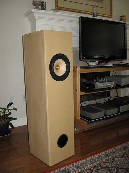 "Brines Acoustics TT-2000 mass loaded transmission line speaker using the 8"" Tang Band W8-1772 full range driver."