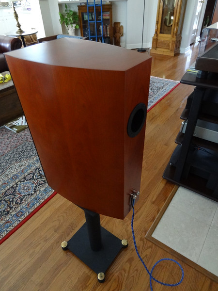 """Rear view of the curved side one cubic foot enclosure. The 2-1/2"""" port is 7"""" long, resulting in a 38hz tuning frequency."""
