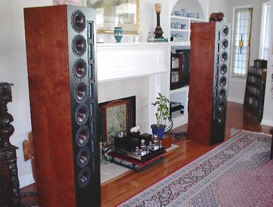 "The Selah Audio XT-8 line arrays, each incorporating eight 7"" Vifa XT woofers and eight Fountek ribbon tweeters."