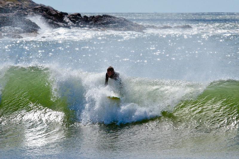 surfing on Head Beach, Phippsburg Maine, Hermit Island, Monroe surf boards