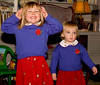 December 2005: Christmas sweaters for Tessa and Isabelle. Peruvian Highland wool in Periwinkle, on #8 needles.