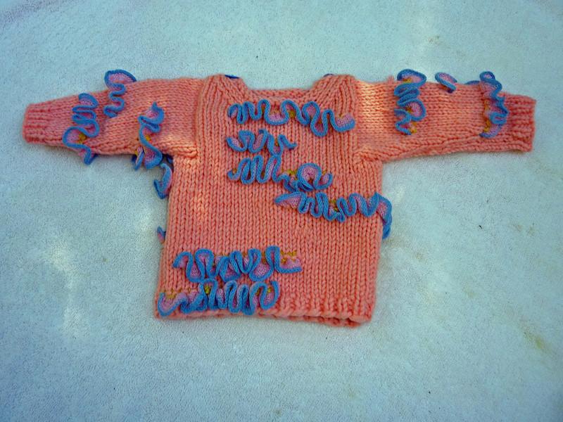 "Baby sweater for Friends of Ruwenzori, ""Sweet Girl"" German yarn"