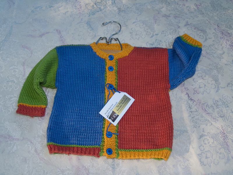Toddler sweater given to Friends of Ruwenzori auction, 2009, KnitPick's Shine cotton/rayon