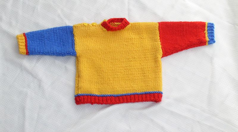 Billy's sweater, given January 2005 -- Norwegian single-ply yarn on #8 needles