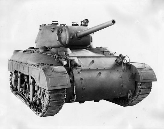 Title:  M-7 tank <br /> <br /> Description:  M-7 medium tank produced at International Harvester's Bettendorf Works for the U.S. military. Only seven of these tanks were ever delivered to the military.<br /> <br /> Wisconsin Historical Images Image ID:  24234 <br /> <br /> Creation Date:  1942