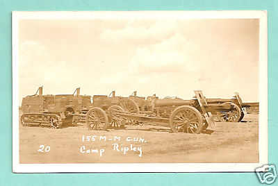 155 M-M GUN IN CAMP RIPLEY in Minn.   It is postmarked in 1936