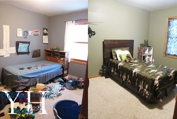 Before and after.  He loves it and this was a really fun room for me to do.  The total cost was around $120 bucks. Ty wants a sports style room so I'll be doing that next!