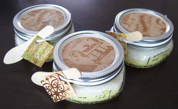 To make the coconut sugar scrub all you need is sugar, coconut oil and coconut fragrance.  We added some food coloring too.  Mix 1 cup of sugar with 2-4 tbsp. of coconut oil.  Add fragrance and food coloring if desired.  This is great for getting your feet ready for sandals!
