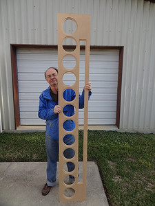 """The front baffle with cutouts and rebates completed. It stands 7' 8"""" tall."""