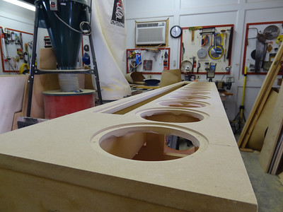 """The baffle glued in place. I intentionally cut the baffle and the back panel about 1/16"""" too large, then use a trim bit on the router to cut off the excess 1/32"""" for a perfect seam."""