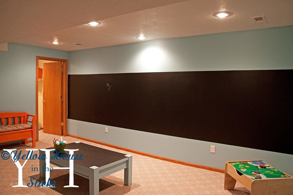 I also painted one huge strip of this wall with chalkboard paint.