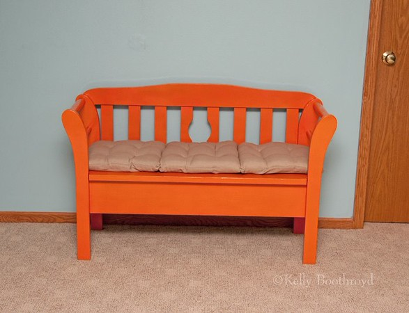 And I can't forget the bench. I spray painted the bench a nice vibrant orange too.