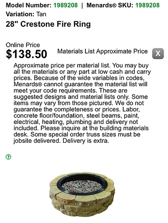 Info from Menards website.