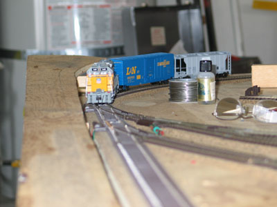 With two of the turnouts wired I can run this train around the layout and turn it around using the reversing loop.