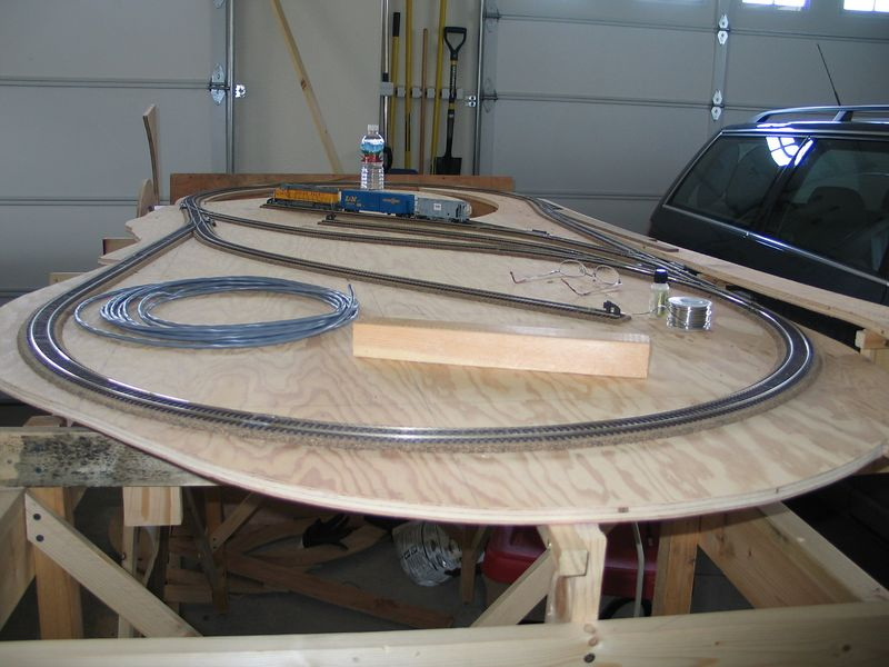Gotta wire all the turnouts, then add the second level of track.