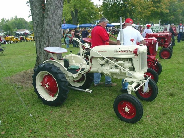 A white Farmall Cub demonstrator. Uploaded from farmallcub.com photo gallery.