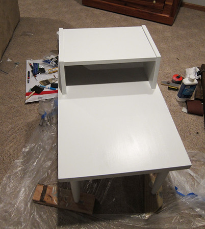 Then gave it a coat of glidden semi gloss paint in white.